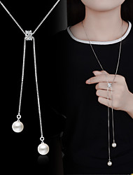 cheap -Pendant Necklace Y Necklace Long Necklace Ladies Basic Fashion Imitation Pearl Silver Plated Alloy Silver Necklace Jewelry For Wedding Party Special Occasion Birthday Engagement Daily