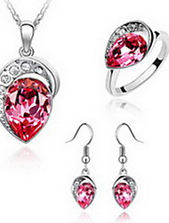 cheap -Women's Crystal High End Crystal Jewelry Set Love European Austria Crystal Earrings Jewelry Red / Blue For Party / Rings