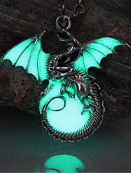 cheap -Women's Luminous Stone Pendant Necklace Dragon Wings Animal Magic Ladies Vintage Punk Rock Bronze Luminous Stone Alloy Bronze Golden Silver Necklace Jewelry For Party Halloween Daily Casual Club