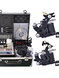 cheap -Tattoo Machine Professional Tattoo Kit - 2 pcs Tattoo Machines LCD power supply Case Not Included 2 steel machine liner & shader