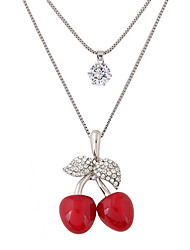 cheap -Women's Pendant Necklace Long Cherry Fruit Ladies Double-layer Fashion Cute Rhinestone Imitation Diamond Alloy Red Necklace Jewelry For Party Daily