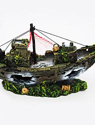 cheap -Fish Tank Aquarium Decoration Ornament Ship Non-toxic & Tasteless Resin 1 pc