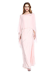 cheap -Sheath / Column Spaghetti Strap Floor Length Chiffon Sleeveless Two Piece Mother of the Bride Dress with Beading 2020