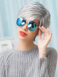 cheap -Human Hair Blend Wig Short Straight Pixie Cut Short Hairstyles 2020 With Bangs Straight Ombre Side Part Machine Made Women's Grey