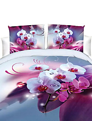 cheap -Duvet Cover Sets Floral Polyester Reactive Print 4 PieceBedding Sets / 200 / 4pcs (1 Duvet Cover, 1 Flat Sheet, 2 Shams)