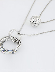 cheap -Women's Pendant Necklace Layered Necklace Long Ball Circle Ladies Double-layer Fashion Alloy Silver Necklace Jewelry For Casual