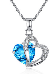 cheap -Women's Crystal Pendant Necklace faceter Heart Love Interlocking European Euramerican Elegant Gemstone Zircon Cubic Zirconia Pink Light Blue Light Brown Necklace Jewelry For Party Anniversary