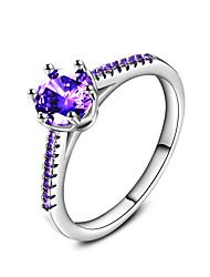 cheap -Band Ring Ring Engagement Ring Cubic Zirconia Purple Zircon Silver Wedding Party Jewelry