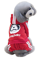 cheap -Dog Coat Hoodie Dog Clothes Solid Colored Red Blue Black Cotton Costume For Spring &  Fall Winter Men's Women's Sports Fashion