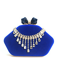 cheap -Women's Bags Velvet Evening Bag Crystal / Rhinestone Solid Colored Wedding Party Event / Party Wine Black Blue Purple
