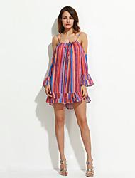 cheap -Women's Flare Sleeve Mini Orange Dress Boho Summer Holiday Beach Loose Chiffon Striped Off Shoulder Ruffle Print S M