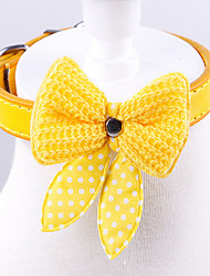 cheap -Cat Dog Collar Hands free Bowknot PU Leather Yellow Red Blue