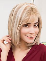 Недорогие -Человеческие волосы Парик Прямой Прямой силуэт Машинное плетение Желтый