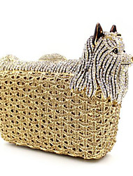 cheap -Women's Bags PU Evening Bag Crystals for Party / Outdoor Gold / Silver / Rhinestone Crystal Evening Bags