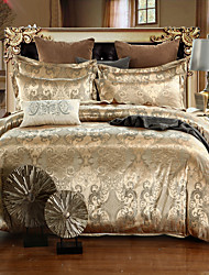 cheap -Duvet Cover Sets Luxury Silk / Cotton Blend Jacquard 4 PieceBedding Sets / 500 / 4pcs (1 Duvet Cover, 1 Flat Sheet, 2 Shams)