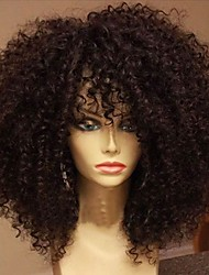 cheap -Human Hair Glueless Full Lace Full Lace Wig style Brazilian Hair Kinky Curly Wig 130% Density with Baby Hair Natural Hairline African American Wig 100% Hand Tied Women's Short Medium Length Long