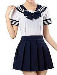 cheap -Inspired by Sailor Moon Sailor Jupiter Sailor Mars Sailor Mercury Anime Cosplay Costumes Japanese Cosplay Suits School Uniforms Striped Short Sleeve Shirt Skirt For Girls' / Schoolgirls