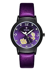 cheap -Women's Wrist Watch Quartz Quilted PU Leather Black / Red / Purple Hot Sale / Analog Casual Fashion - Black Purple Red