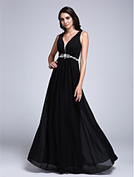 cheap -A-Line See Through Formal Evening Dress Plunging Neck Sleeveless Floor Length Chiffon with Beading Side Draping 2021