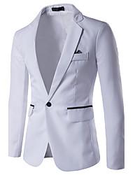cheap -Men's Daily / Work Business / Simple / Casual Spring / Summer / Fall Regular Blazer, Color Block Shirt Collar Long Sleeve Rayon Gray / Light Blue / Royal Blue / Business Casual / Slim