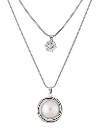 cheap -Women's Pendant Necklace Double-layer Fashion Pearl Imitation Diamond Alloy Silver Necklace Jewelry For Party Daily