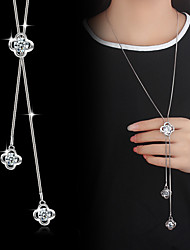 cheap -Pendant Necklace Y Necklace Lariat Flower Ladies Basic Fashion Blinging Cubic Zirconia Silver Plated Alloy Silver Necklace Jewelry For Wedding Party Special Occasion Birthday Daily Casual