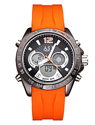 cheap -ASJ Men's Digital Watch Japanese Digital Silicone Black / Orange 30 m Water Resistant / Waterproof Calendar / date / day Compass Analog - Digital Casual Fashion - Black Orange Two Years Battery Life