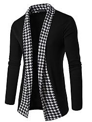 cheap -Men's Daily / Weekend Print Check Long Sleeve Slim Regular Cardigan Sweater Jumper Spring / Fall / Winter Black / Dark Gray M / L / XL