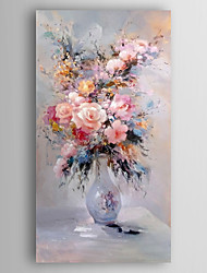 cheap -Hand-Painted  Impression Flower in Vase Canvas Oil Painting With Stretcher For Home Decoration Ready to Hang