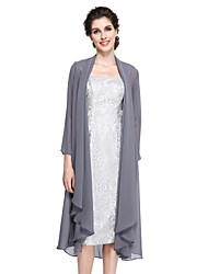 cheap -Sheath / Column Mother of the Bride Dress Elegant Straps Knee Length Chiffon Lace Long Sleeve with Lace 2021