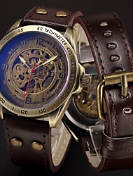 cheap -Men's Sport Watch Skeleton Watch Military Watch Automatic self-winding Stainless Steel Genuine Leather Black / Blue / Silver 50 m Cool Punk Analog Luxury Vintage Casual Camouflage - Brown Bronze