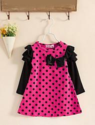 cheap -Toddler Girls' Dot Ruffle Bow Polka Dot Long Sleeve Dress Fuchsia / Cotton