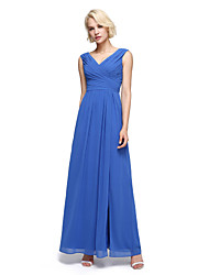 cheap -A-Line V Neck Ankle Length Chiffon Bridesmaid Dress with Criss Cross / Ruched