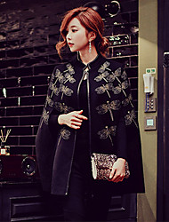 cheap -Women's Daily / Holiday / Going out Vintage / Punk & Gothic / Sophisticated Spring / Fall Regular Cloak / Capes, Solid Colored Stand Long Sleeve Wool / Acrylic / Polyester Embroidered / Print Black