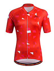 cheap -Miloto Women's Short Sleeve Cycling Jersey Stripes Plus Size Bike Shirt Sweatshirt Jersey Mountain Bike MTB Road Bike Cycling Breathable Quick Dry Reflective Strips Sports 100% Polyester Clothing