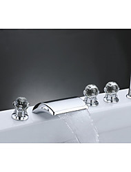 cheap -Bathtub faucet-Modern waterfall chrome hot and cold split ceramic valve / brass / three handles and five holes