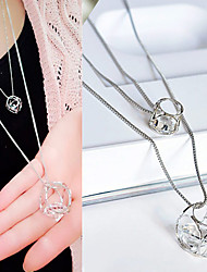 cheap -Women's Cubic Zirconia Pendant Necklace Long Geometric Double-layer Fashion Zircon Cubic Zirconia Rhinestone Silver Necklace Jewelry For Casual