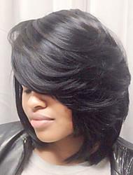Недорогие -Человеческие волосы без парики Натуральные волосы Прямой Машинное плетение Парик / Прямой силуэт