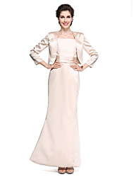 cheap -Mermaid / Trumpet Square Neck Ankle Length Satin Mother of the Bride Dress with Lace / Ruched by LAN TING BRIDE®
