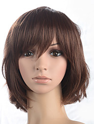 cheap -Synthetic Wig Curly Curly Bob Short Bob With Bangs Wig Medium Length Auburn Synthetic Hair Women's With Bangs Brown