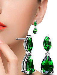cheap -Crystal AAA Cubic Zirconia Drop Earrings Ball Earrings Solitaire Two Stone Mood Ladies Bling Bling everyday Cubic Zirconia Earrings Jewelry Silver / Green For Wedding Party Daily Casual Masquerade