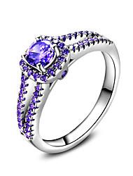 Недорогие -Кольцо Обручальное кольцо Цирконий Лиловый Циркон Серебристый Свадьба Для вечеринок Бижутерия