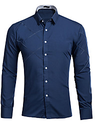 cheap -Men's Solid Colored Shirt Daily Wine / White / Black / Blue / Red / Blushing Pink / Fuchsia / Navy Blue / Spring / Fall / Long Sleeve