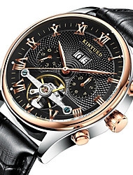 cheap -KINYUED Men's Skeleton Watch Wrist Watch Mechanical Watch Automatic self-winding Roman Numeral Leather Brown 30 m Water Resistant / Waterproof Calendar / date / day Chronograph Analog Luxury Classic