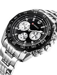 cheap -Men's Sport Watch Wrist Watch Quartz Multi-Colored 30 m Calendar / date / day Designers Swiss Analog Charm Classic Casual Fashion Dress Watch - White Black / Stainless Steel