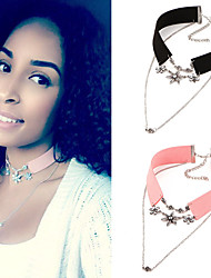 cheap -Women's Crystal Choker Necklace Pendant Necklace Tattoo Choker Flower Ladies Tattoo Style Vintage Bohemian Pearl Crystal Leather Pink Black Necklace Jewelry For Party Casual