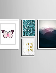 cheap -Framed Canvas Framed Set Landscape Animals Floral/Botanical Words & Quotes Wall Art, PVC Material With Frame Home Decoration Frame Art