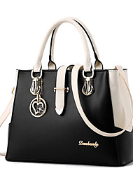 cheap -Women's Ruffles PU Leather Zipper / Top Handle Bag Leather Bags Solid Colored Wine / White / Black