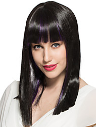 cheap -straight wig medium long mix black with bangs synthetic fiber wig hairstyle