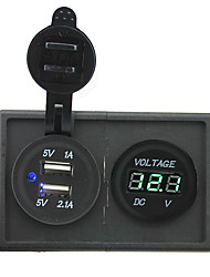 cheap -12V/24V 3.1A dual USB socket and led voltmeter with housing holder panel for car boat truck RV
